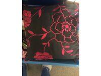 X2 pink flower pillows