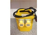 110v 16 Amp transformer box twin sockets waterproof 230v can deliver.