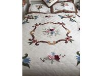 Vintage hand stitched quilt, pillow shams and cushion