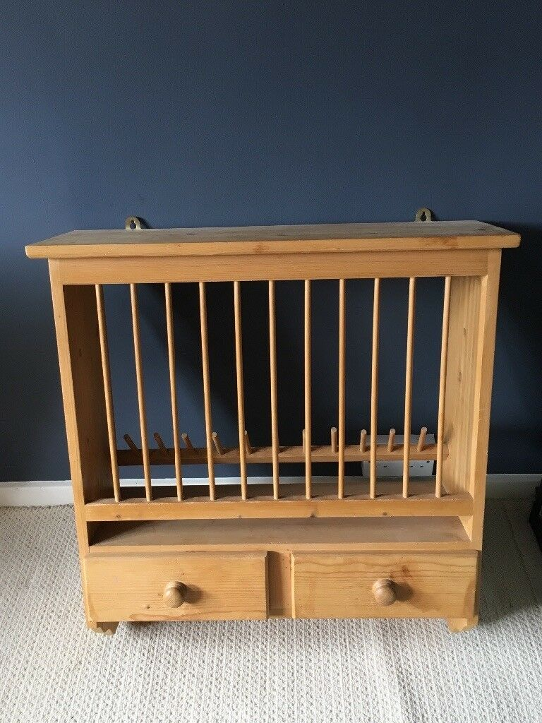 Antique Pine Wall Mounted Plate Rack