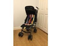 "Mamas & Papas ""Voyage"" Pram, black, yellow trim, adjustable back/leg rest positions"