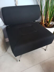 Vintage Retro Style Armless Casual Black Padded Low Sofa Chair Seat with Chrome Legs