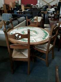 Farmhouse Round Solid Wood Dining Table. 4 Chairs