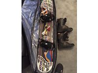 Amplid fenom 60.5 snowboard, bindings, size 10 Salomon boots and big dreams bag.