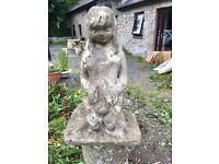 Stone garden ornament - Girl with rabbit