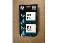 Brand new in box HP ink 123 printer cartridges colour and black