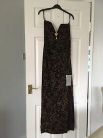 Long plum & gold velvet dress, size 10, brand new with tag, never been worn, side split.