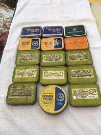 Collection of old tobacco tins