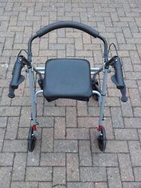 ROLLATOR MOBILITY WALKING AID / FRAME / DISABLED WALKER / STROLLER / ZIMMER - 4 WHEELS BRAKES & SEAT