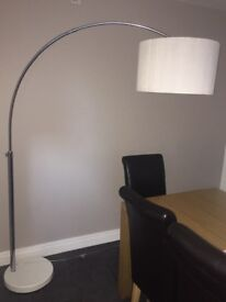 Large Curved floor lamp with pure silk shade