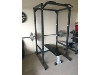 Power Rack, Barbell, Dumbbells, Weights and Bench