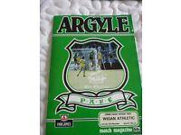 Plymouth Argyle versus Wigan Athletic Football Programme 1985