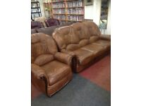 Italian brown leather 3 & 1 suite