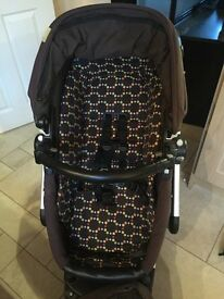 Mamas & Papas Skate 3 in 1 travel system with car seat, base and changing bag.