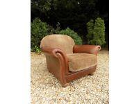 Tetrad Torino Antique Brown Leather & Fabric Armchair