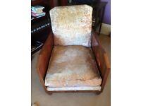 Antique Art Deco style 1930's chair in dark cream/beige velvet