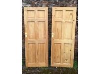 Two solid pine interior doors 6 panel