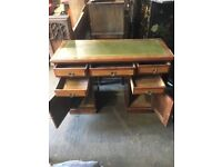 Vintage Twin Pedestal Partners Desk - Solid Wood Mahogany, Green Leather Insert