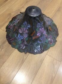 Pendant light shade stained glass, lead 50cm/25cm with 3d butterflies