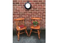 Pair Solid PINE Wood Dining Chairs Shabby Chic Farmhouse Country Kitchen