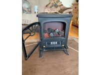 Oak fire place with matching mirror and electric fire