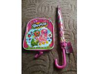 Shopkins backpack and umbrellas