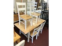 oak/white table and 4 oak/white chairs