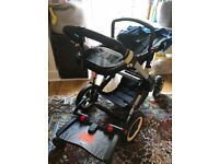 Bugaboo Buffalo blue canopy with bassinet and seat