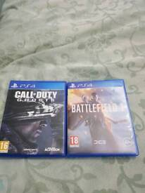 Ps4 games call of duty ghosts,battlefield 1