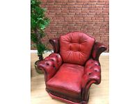 Pre 1930's Oxblood Leather Armchairs