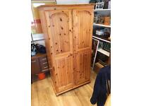 Pine wardrobe with mirror and tie rack