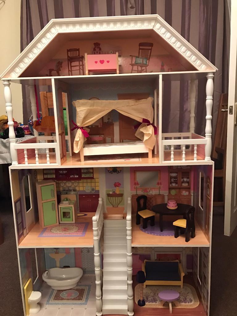 kidcraft savannah dollhouse, large wooden doll mansion, fits barbie