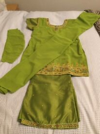 Ladies/ Girls Asian Outfit/ Top (Trouser Suit)- Green with Gold Embroidery