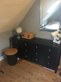 black bedroom set, drawers, bedside table, chest, storage seat
