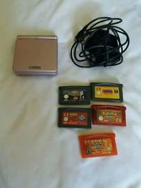 Gameboy SP Pink w/ 5 games + original charger