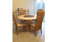 Solid Marble Top Dining Table with Wooden & Leather Chairs