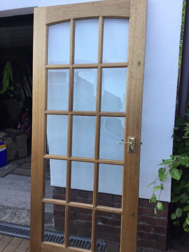Interior 15 Panel Glass Door Solid Wood In Mahogany In Good
