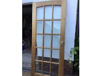 Interior 15 panel glass Door. Solid wood in mahogany in good condition.