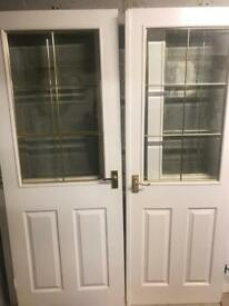 Set of double doors and two single doors -white
