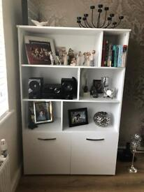 White gloss Hygena wall unit