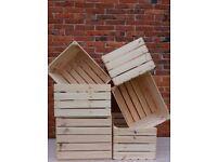 6 Beautiful Wooden Crates Burnt Storage Apple Box Home Garden Retro - Clean!!