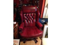 Red Chesterfield style desk chair