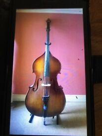Double bass with pickup, bow and case