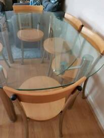 Melbourne glass dining table and chairs