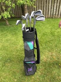 Junior left handed golf clubs and bag. Good condition.