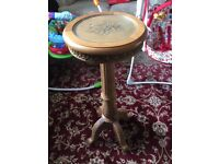 Ornate glass top wooden pot stand