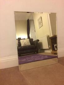 Large frameless mirror 60cm x 75 cm