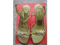 gold flower design sandals - worn once for wedding