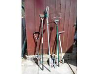 Garden hand tools 8 items,rake,hoe edger long reach loppers,stainless steel planter shovel ,ect