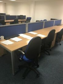 Fantastic Office Desks with Pedestals and Dividers x 65 Priced to sell